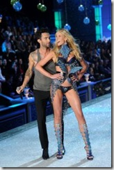 Adam Levine of Maroon 5 performs with model-Anne Vyalitsina